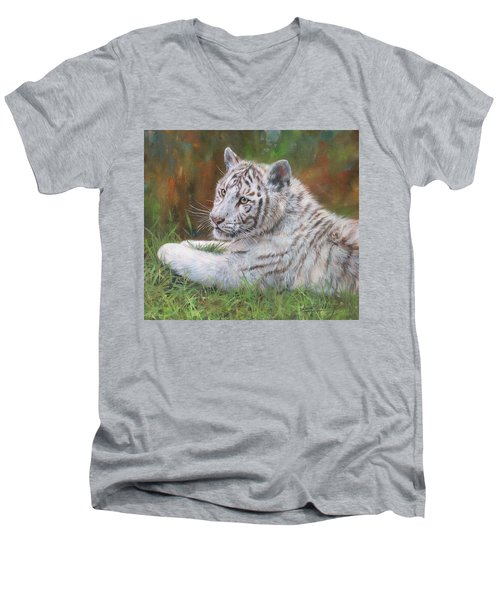 Men's V-Neck T-Shirt featuring the painting White Tiger Cub 2 by David Stribbling