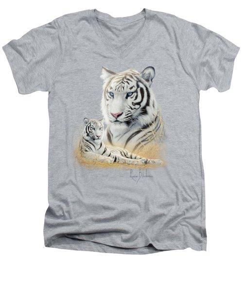 White Tiger Men's V-Neck T-Shirt by Lucie Bilodeau