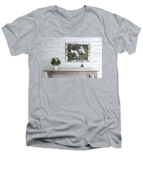 Men's V-Neck T-Shirt featuring the photograph White Timber Cottage By Kaye Menner by Kaye Menner