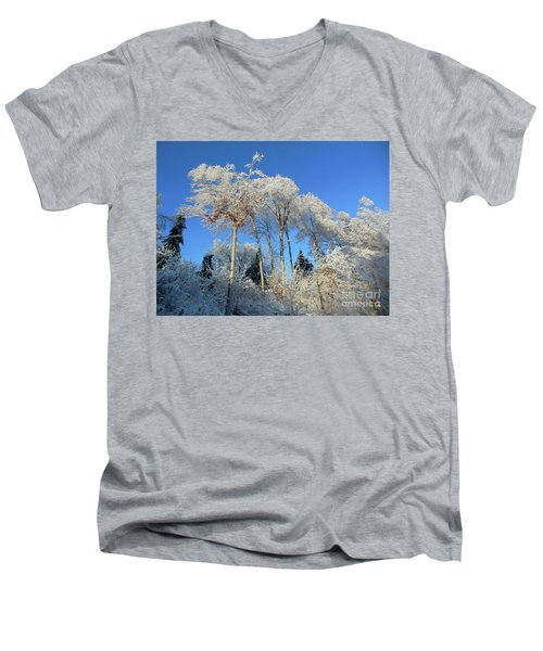 Men's V-Neck T-Shirt featuring the photograph White Trees Clear Skies by Rockin Docks