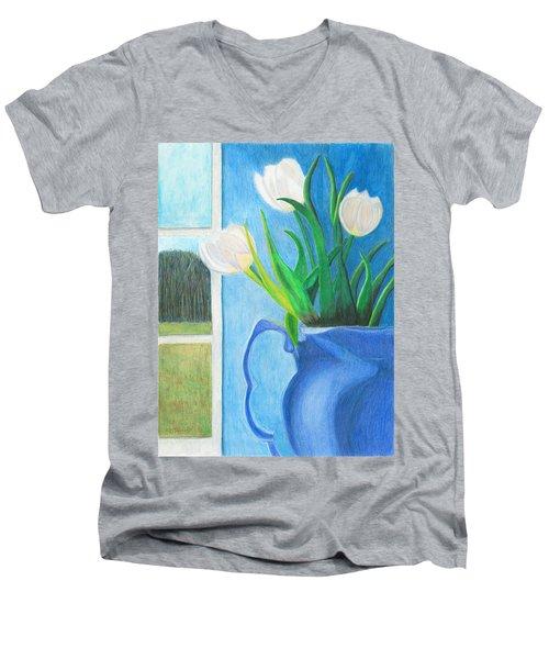 White Tulips Men's V-Neck T-Shirt by Arlene Crafton