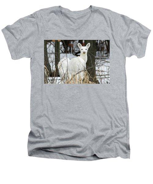 White Visitor Men's V-Neck T-Shirt by Brook Burling