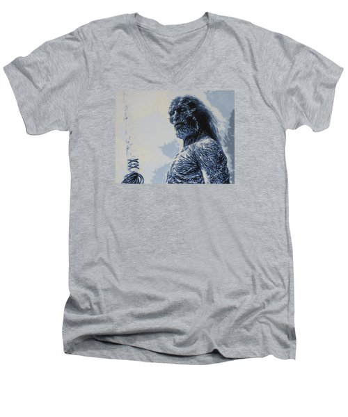 Men's V-Neck T-Shirt featuring the painting White Walker by Luis Ludzska