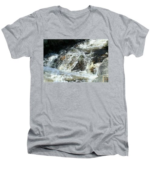 Men's V-Neck T-Shirt featuring the digital art White Water by Barbara S Nickerson