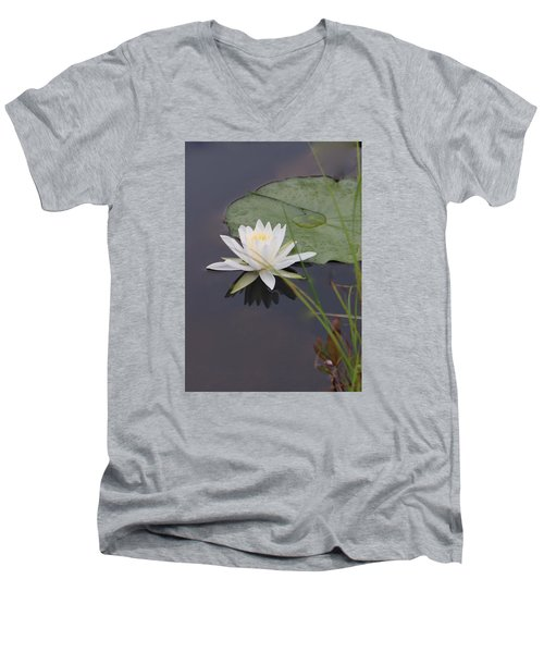Men's V-Neck T-Shirt featuring the photograph White Water Lotus by Debra     Vatalaro