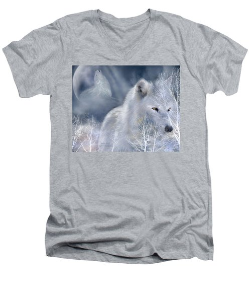 Men's V-Neck T-Shirt featuring the mixed media White Wolf by Carol Cavalaris