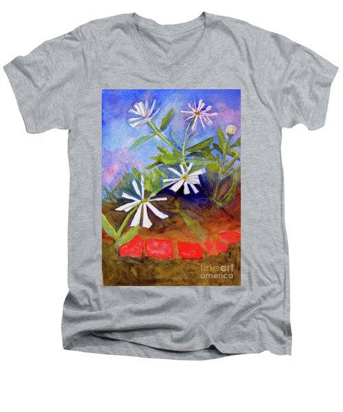 White Zinnias Men's V-Neck T-Shirt