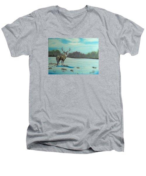 Whitetail Buck Men's V-Neck T-Shirt by Brenda Bonfield