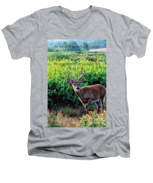 Men's V-Neck T-Shirt featuring the photograph Whitetail Deer Panting by Thomas R Fletcher