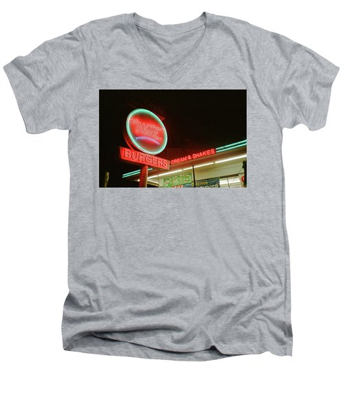 Whiz Burgers Neon, San Francisco Men's V-Neck T-Shirt