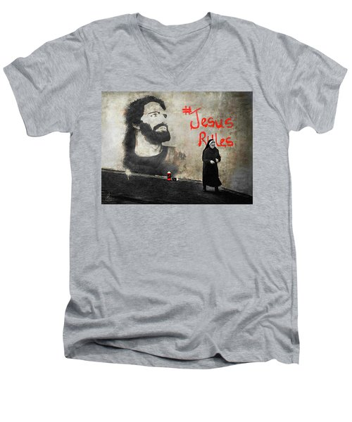 Men's V-Neck T-Shirt featuring the photograph Who Knew by Pennie  McCracken