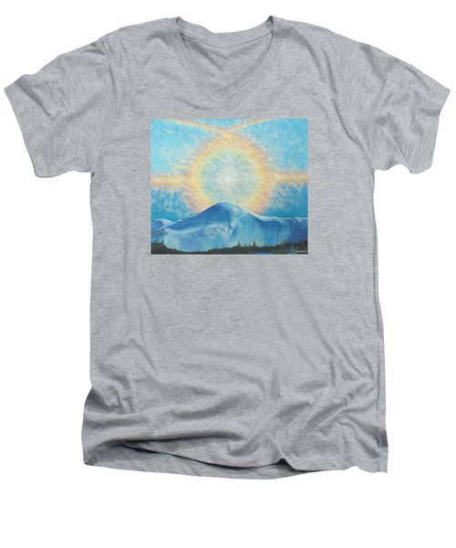Who Makes The Clouds His Chariot Fire Rainbow Over Alberta Peak Men's V-Neck T-Shirt