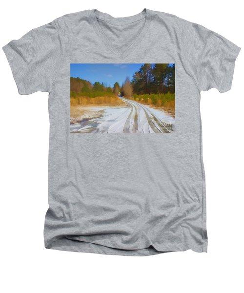 Snow Covered Lane Men's V-Neck T-Shirt