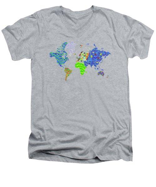 Whole World's Gone Bananas - World Map Sticker Art Men's V-Neck T-Shirt by Rayanda Arts