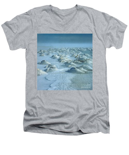 Whooper Swans In Snow Men's V-Neck T-Shirt by Teiji Saga and Photo Researchers