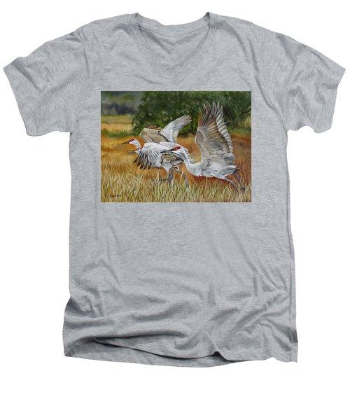 Sandhill Cranes In A Field Men's V-Neck T-Shirt by Phyllis Beiser