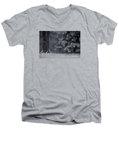 Whose Woods These Are I Think I Know Men's V-Neck T-Shirt by William Fields