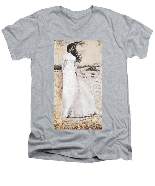 Men's V-Neck T-Shirt featuring the painting Out On The Wiley Windy Moors by Jarko Aka Lui Grande