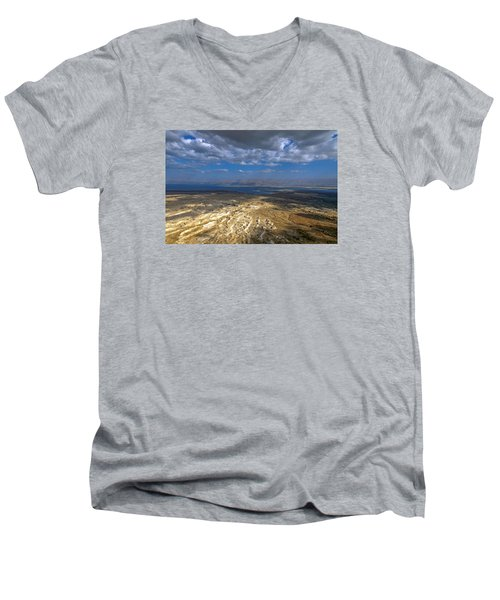 Wide View From Masada Men's V-Neck T-Shirt by Dubi Roman