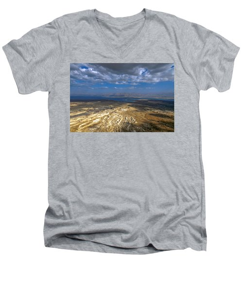 Wide View From Masada Men's V-Neck T-Shirt