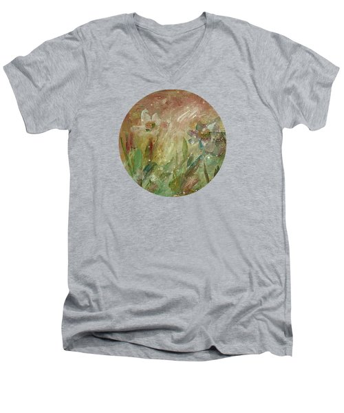 Men's V-Neck T-Shirt featuring the painting Wil O' The Wisp by Mary Wolf