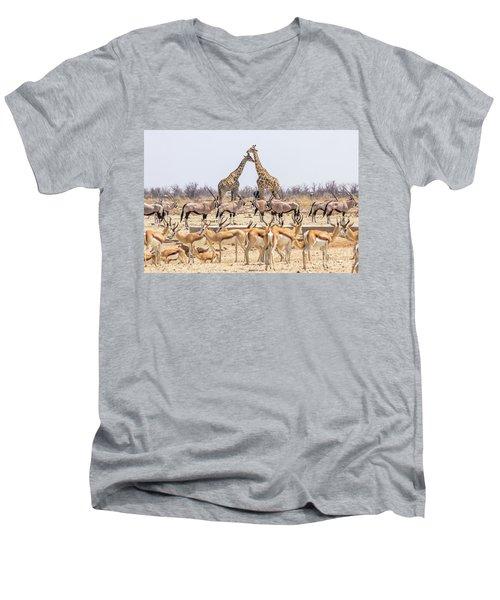 Wild Animals Pyramid Men's V-Neck T-Shirt