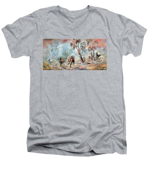 Men's V-Neck T-Shirt featuring the painting Wild Brumbies by Ryn Shell