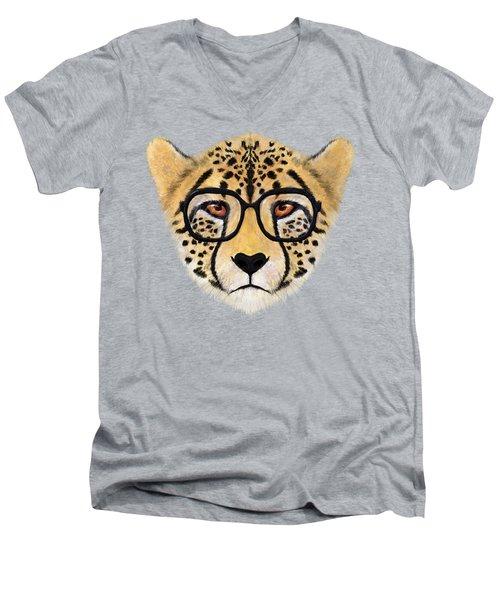 Wild Cheetah With Glasses  Men's V-Neck T-Shirt