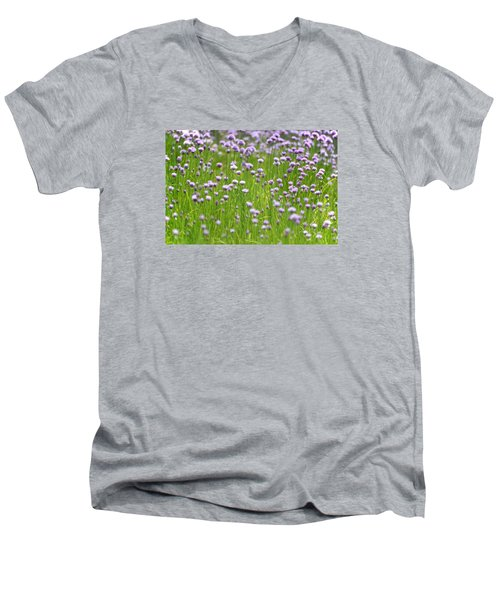 Men's V-Neck T-Shirt featuring the photograph Wild Chives by Chevy Fleet
