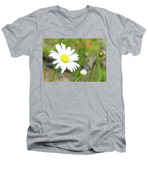 Wild Daisy With Visitor Men's V-Neck T-Shirt