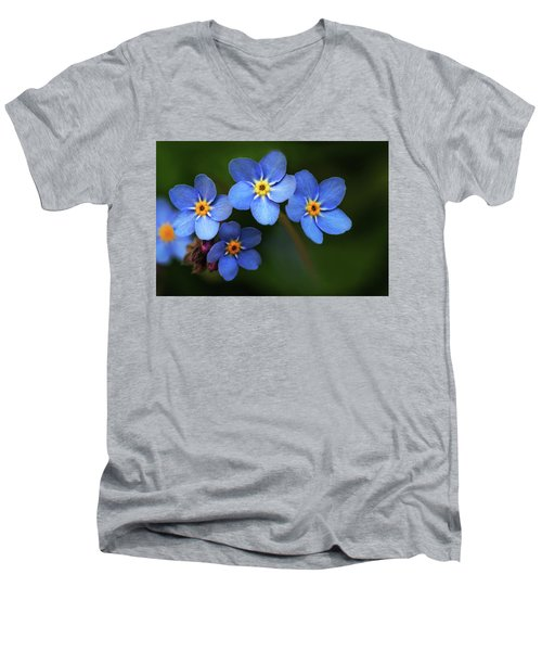 Wild Flower Forget-me-not Since The Middle Ages Symbolizes The Celestial Eye And Reminds You Of God Men's V-Neck T-Shirt