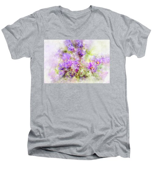 Wild Flowers In The Fall Watercolor Men's V-Neck T-Shirt