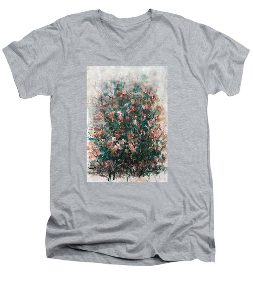 Men's V-Neck T-Shirt featuring the painting Wild Flowers by Laila Awad Jamaleldin