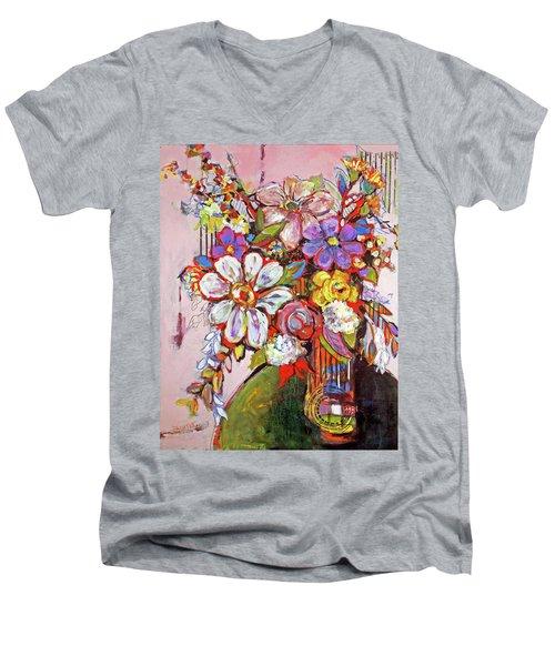 Wild Flowers Men's V-Neck T-Shirt by Sharon Furner