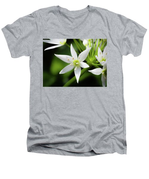 Men's V-Neck T-Shirt featuring the photograph Wild Garlic Flower by Nick Bywater