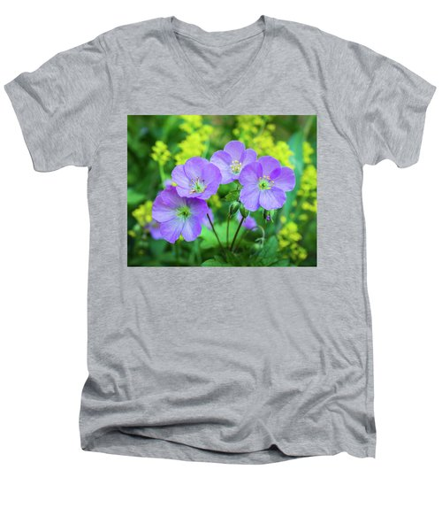 Wild Geranium Family Portrait Men's V-Neck T-Shirt