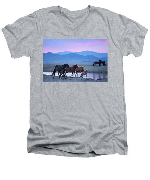 Men's V-Neck T-Shirt featuring the photograph Wild Horse Sunrise by Wesley Aston