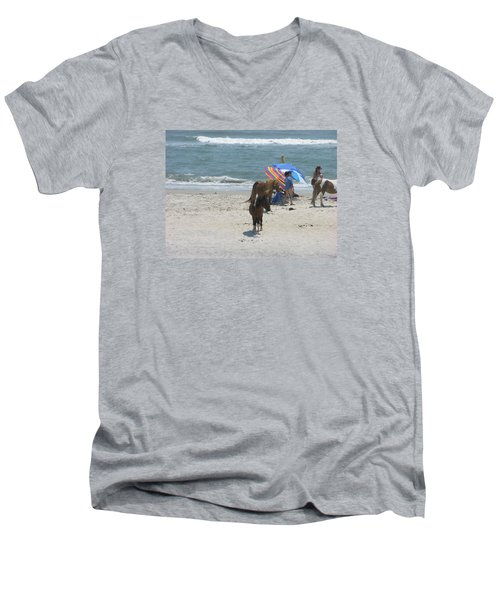 Wild Horses Men's V-Neck T-Shirt by Helen Haw