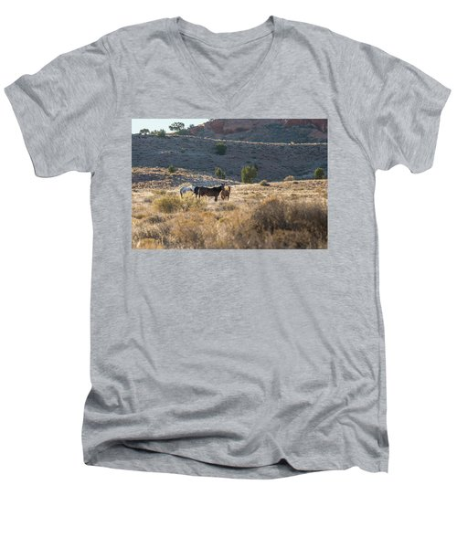 Men's V-Neck T-Shirt featuring the photograph Wild Horses In Monument Valley by Jon Glaser