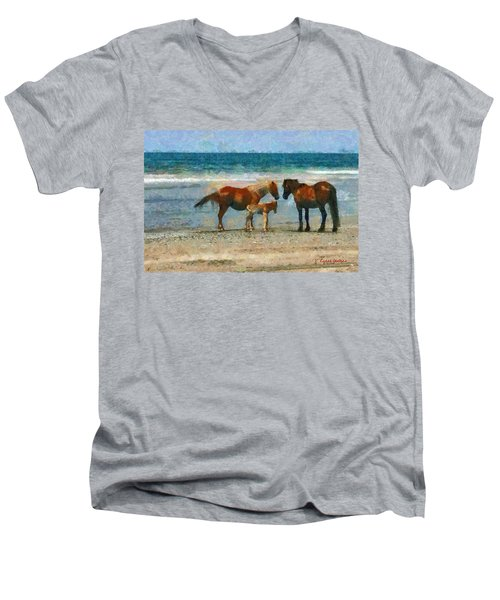 Wild Horses Of The Outer Banks Men's V-Neck T-Shirt