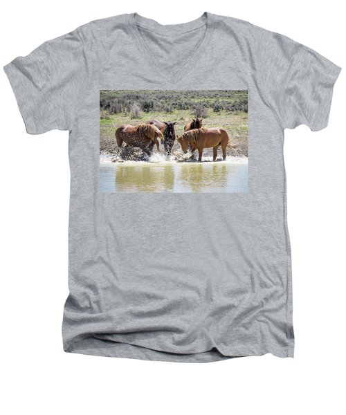 Wild Mustang Stallions Playing In The Water - Sand Wash Basin Men's V-Neck T-Shirt