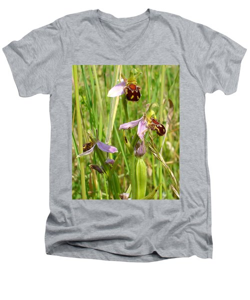 Wild Meadow Bee Orchids Men's V-Neck T-Shirt