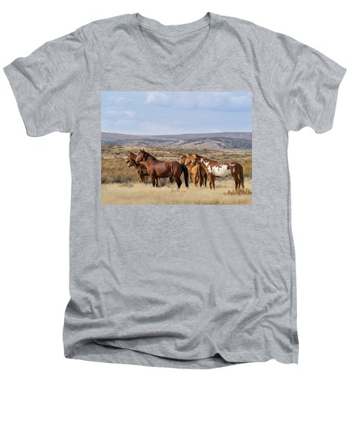 Wild Mustang Family Band In Sand Wash Basin Men's V-Neck T-Shirt