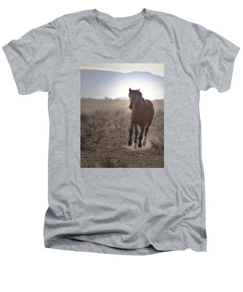 Wild Mustang Stallion Running Men's V-Neck T-Shirt