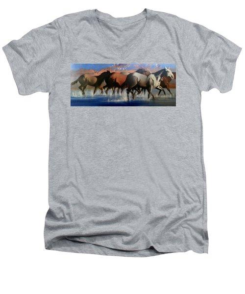 Wild Mustangs Of The Verder River Men's V-Neck T-Shirt