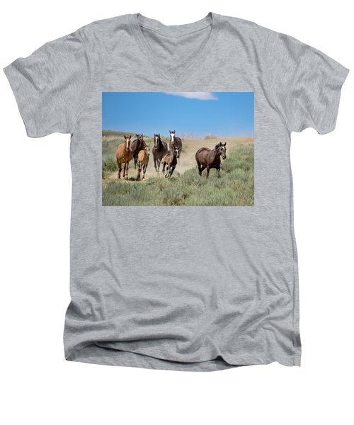 wild mustangs on the run to the water hole in Sand Wash Basin Men's V-Neck T-Shirt