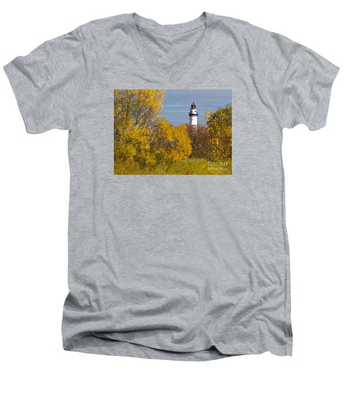 Wind Point Lighthouse In Fall Men's V-Neck T-Shirt by Ricky L Jones