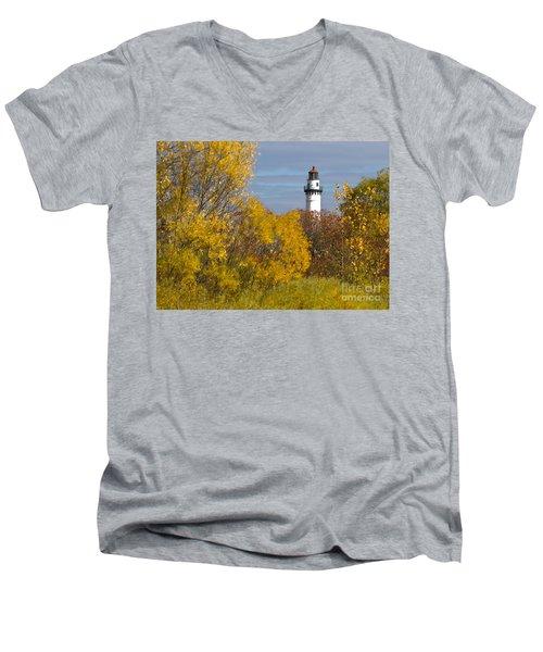 Wind Point Lighthouse In Fall Men's V-Neck T-Shirt