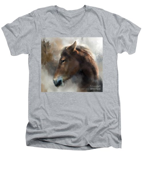 Wild Pony Men's V-Neck T-Shirt by Kathy Russell