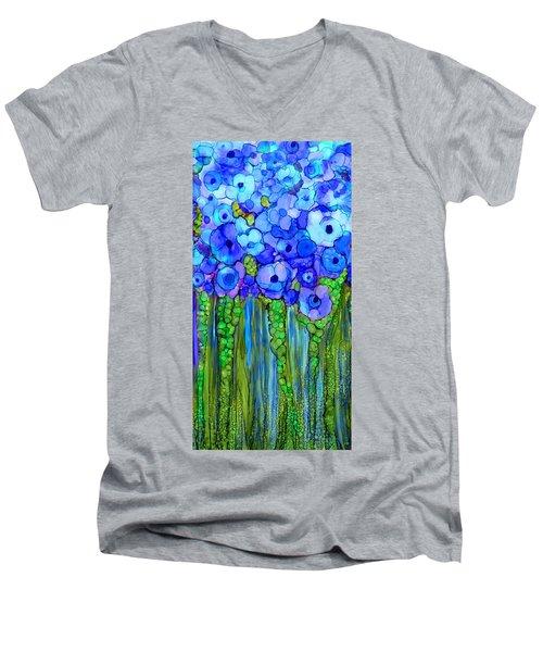 Men's V-Neck T-Shirt featuring the mixed media Wild Poppy Garden - Blue by Carol Cavalaris